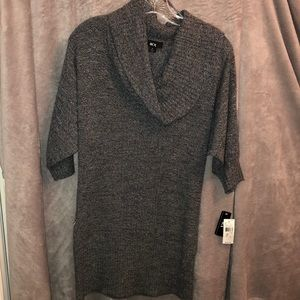 Grey sweater tunic with cowl neck